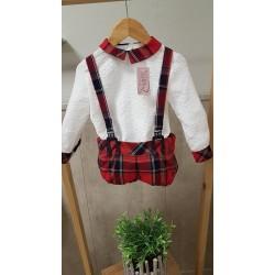 Conjunto Christmas Ranita con tirantes + camisa