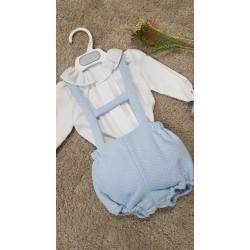 Ranita de algodon en celeste con camisa para bebe