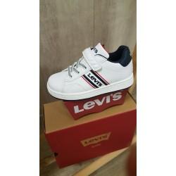 Zapatillas blancas Levi's con cordón de goma y velcro