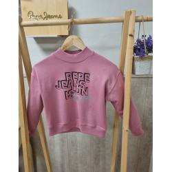 Sudadera de Pepe Jeans niña con cuello chimenea, en color rosa maquillaje